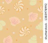 seamless pattern with seashells ... | Shutterstock .eps vector #1383978992