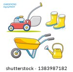red lawn mower isolated ... | Shutterstock .eps vector #1383987182