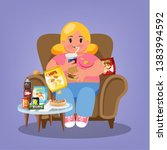 fat woman sitting in the... | Shutterstock .eps vector #1383994592