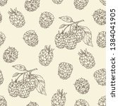 seamless pattern with raspberry ... | Shutterstock .eps vector #1384041905