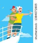 happy senior couple recreating... | Shutterstock .eps vector #1384072805