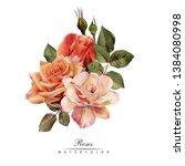 bouquet of roses  watercolor ...   Shutterstock . vector #1384080998