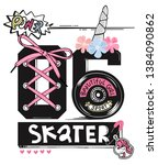 skater typography with unicorn... | Shutterstock .eps vector #1384090862