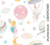 Stock photo cute pattern for a girl a white hare with a parachute a balloon a starry sky the moon and 1384092485