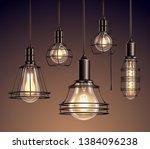 loft edison vintage metal wire... | Shutterstock .eps vector #1384096238