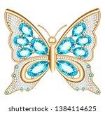 jewelry gold butterfly in gems. ... | Shutterstock .eps vector #1384114625