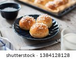 homemade sweet buns with pearl... | Shutterstock . vector #1384128128