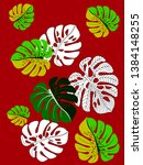 vector tropical pattern with... | Shutterstock .eps vector #1384148255