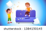 kids playing with pillows  ...   Shutterstock .eps vector #1384150145