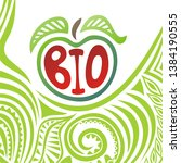 sign bio. apple. beautiful... | Shutterstock .eps vector #1384190555