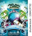 vector summer beach party flyer ... | Shutterstock .eps vector #138419732
