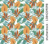 seamless tropical pattern in... | Shutterstock .eps vector #1384209098