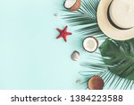 summer composition. tropical... | Shutterstock . vector #1384223588