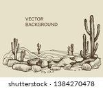cacti in the arizona. hand... | Shutterstock .eps vector #1384270478
