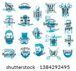 barbershop lettering icons ... | Shutterstock .eps vector #1384292495