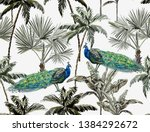 beautiful tropical vintage palm ...   Shutterstock .eps vector #1384292672