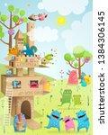 cardboard paper castle kids... | Shutterstock .eps vector #1384306145