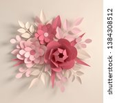paper pastel colored flowers on ... | Shutterstock . vector #1384308512