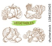hand sketched vector vegetables ... | Shutterstock .eps vector #1384310405