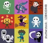 a variety of halloween roles | Shutterstock .eps vector #138433448