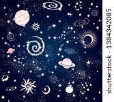 space galaxy constellation... | Shutterstock .eps vector #1384342085