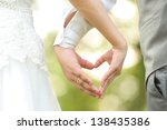 bride and groom standing... | Shutterstock . vector #138435386