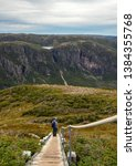 Small photo of Hiker pauses to admire the magnificent view from the summit of Gros Morne Mountain on a blustery autumn day after completing the challenging 800 m climb.