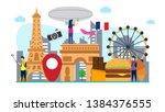 travel to paris creative... | Shutterstock .eps vector #1384376555
