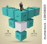 vector 3d cube boxes with icons ... | Shutterstock .eps vector #138438005