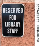 reserved for library staff sign ... | Shutterstock . vector #1384396202