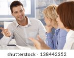 businessman at meeting  smiling ... | Shutterstock . vector #138442352