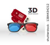 two cinema tickets an 3d... | Shutterstock .eps vector #1384434212