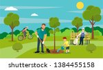 Vector summertime flat illustration. People in the park. Big set.