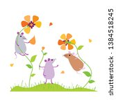 cute funny cartoon mice playing ... | Shutterstock .eps vector #1384518245
