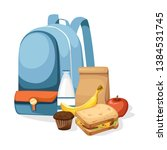 school bag and lunch paper bag... | Shutterstock .eps vector #1384531745