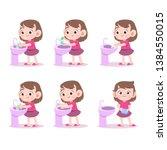 Kids Washing Hand Vector...