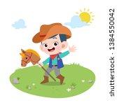 Kid Riding Horse Vector...