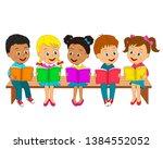 kids boys and girls read books...   Shutterstock .eps vector #1384552052