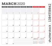 calendar planner for march 2020.... | Shutterstock .eps vector #1384558862