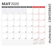 calendar planner for may 2020.... | Shutterstock .eps vector #1384558865