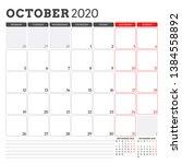 calendar planner for october... | Shutterstock .eps vector #1384558892