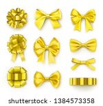 yellow gift bows with ribbons.... | Shutterstock .eps vector #1384573358