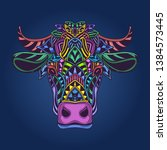 colorful cow head in pop color | Shutterstock .eps vector #1384573445