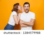 excited beautiful couple... | Shutterstock . vector #1384579988