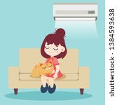 a girl and cute cat sitting... | Shutterstock .eps vector #1384593638