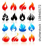 Fire flames colorful, set icons, vector illustration
