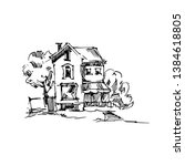 vector sketch of houses and... | Shutterstock .eps vector #1384618805