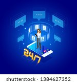 Vector  isometric Illustration. Concept of template. Online web client assistance.Graphic design customer support. Delivery, logistics, virtual assistance. Working day schedule, mode.