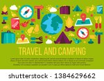tourism and camping hand drawn... | Shutterstock .eps vector #1384629662