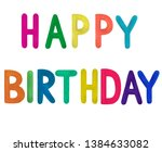 letters in watercolor birthday ...   Shutterstock . vector #1384633082